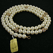 Classic NOS Laguna Faux Pearl Bright Clear Rhinestone Necklace