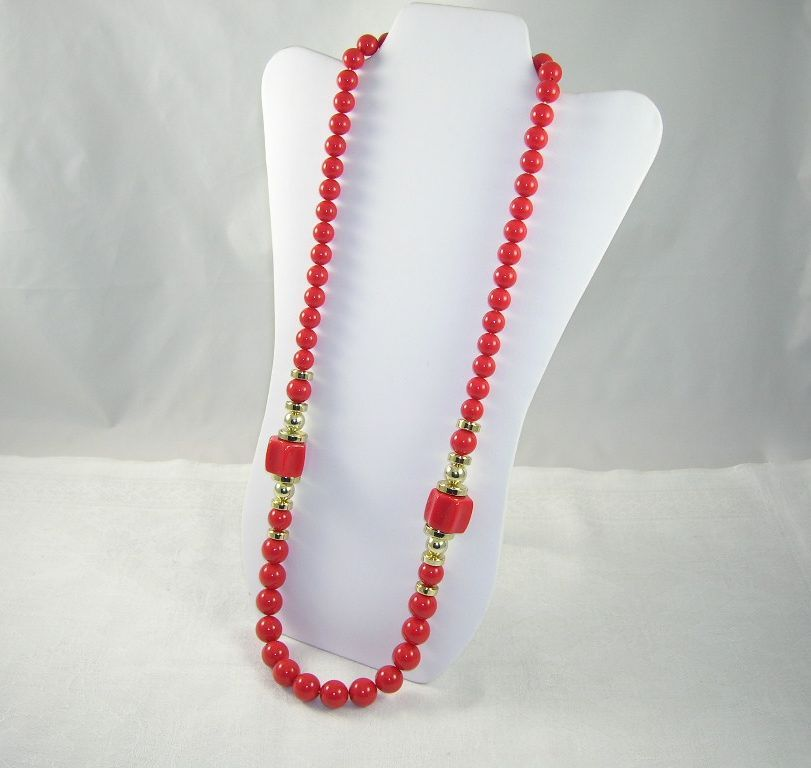 NOS Long Chunky Red & Gold Lucite Bead Necklace