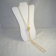 Marvella Classic Glass Faux Pearl Vintage Necklace 55 Inches Long