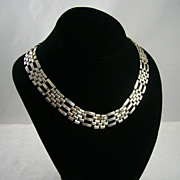 Vintage NOS Silver Tone Metal Link Necklace