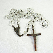 Lovely Vintage Catholic Religious Rosary Faceted AB Crystals Italy