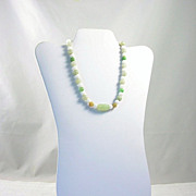 Vintage Jade Bead Necklace White Celadon Green & Brown Sterling Clasp
