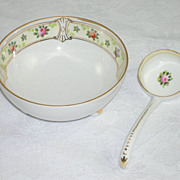 Elegant Nippon Footed Condiment  Bowl & Spoon/Ladle Hand Painted