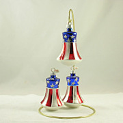 SOLD 3 Glass Bell Patriotic Christmas Tree Ornaments Stars & Stripes Poland