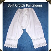 Victorian Pantaloons/Bloomers Split Leg/Crotch Lovely Crochet Hand Work