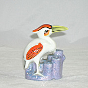 Figural Pelican Flower Frog Expressive Eyes Made In Japan