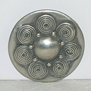 Modernist Arts & Crafts Norwegian Norsk Tinn EH 19 Pewter Brooch
