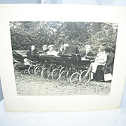 Black & White Vintage Photograph 5 Baby Carriages 8 Ladies