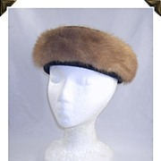 Elegant Vintage Pill Box Hat Black Textured Fabric & Mink Fur