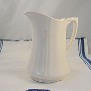 SALE PENDING Vintage Alfred Meakin White Ironstone Milk Pitcher England