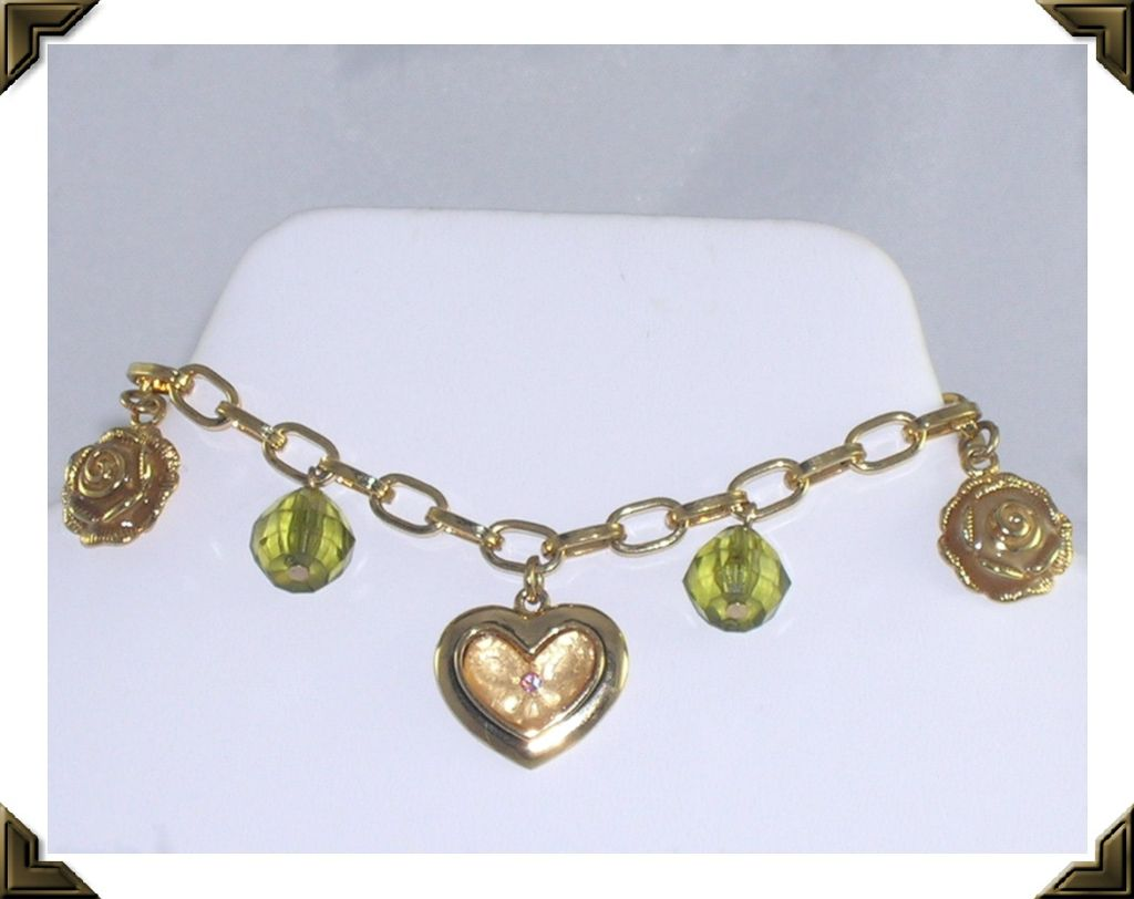 Lovely Premier Designs Heart & Roses Charm Bracelet & Box