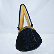 Elegant Navy Blue Velvet Evening Bag/Purse/Handbag Morris Moskowitz