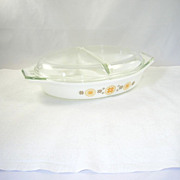 Vintage Pyrex Glass Divided Casserole Dish Bowl Lid Town & Country Pattern