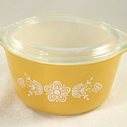 Pyrex Casserole Bowl & Lid Butterfly Gold Pattern
