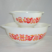 SOLD Set of 2 Vintage Pyrex Cinderella Friendship Pattern Nesting/Mixing Bowls