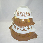 Vintage Set of 4 Pyrex Nesting Cinderella Bowls Early Americana Pattern