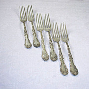 Set of 6 Gorgeous Rogers Silverplate Dinner Forks Multi Motif Pattern