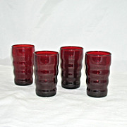 Ruby Red Vintage Juice Glasses Set of 4