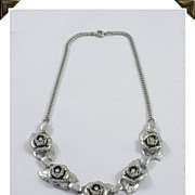 Striking Silver Tone Necklace 5 Beautiful Flowers Rhinestone Centers Book Piece