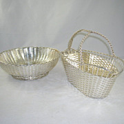 Vintage Silverplate Wine Basket Bread Basket Holders Christofle France Gallia