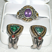 Vintage 14K Sterling Silver Gem Stone Ring and Earrings