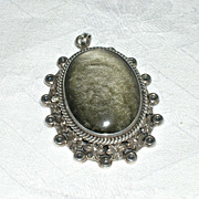 Fabulous Vintage Mexican Sterling Cabochon Stone Locket Brooch Pendant