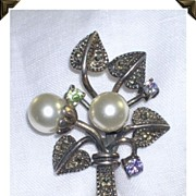 Heart Bouquet Pin/Brooch Sterling Silver Faux Pearls Gem Stones
