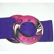 Fashionable Vintage Purple Stretch Belt & Enamel Painted Belt Buckle