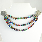 Southwestern Sweater Guard Jewelry Buffalo Nickels 3 Strands Natural Precious Stones Art Glass