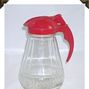 Great Vintage  Glass Syrup Pitcher Red Top and Handle