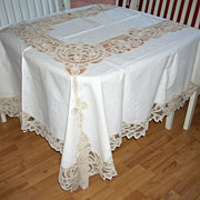 SOLD Vintage NOS Hand Embroidery Lace Table Cloth 12 Napkins