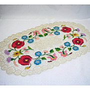 Silk Floral & Ecru Embroidery Oval Centerpiece/Doily
