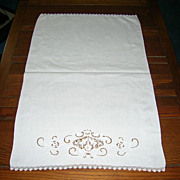 Gorgeous Vintage Reticella Lace Embroidery Decorated Rayon Linen Bath Towel