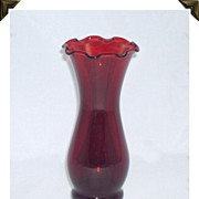 Vintage Royal Ruby Red Glass Flower Vase Anchor Hocking