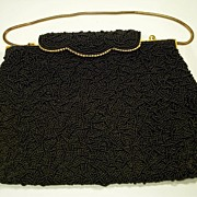 1950's Black Glass Beaded Evening Purse