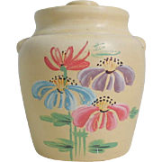 Vintage Ceramic Handpainted Cookie Jar with Flowers