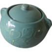 Vintage Aqua Teal Stoneware Cookie Jar Bean Pot with Lid 2.5 Qt