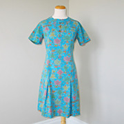 Vintage 1960s Novelty Print Shift Dress Turquoise Pink Gold Lime M