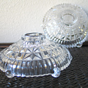 Vintage 1940s Clear Faceted Glass Candle Candlestick Holders Wedding Gift
