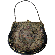 Antique Early 1900s Petit Point Handbag with Floral Frame Purse
