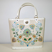 Vintage 1960s Fauxnid Craft Kit Purse Ivory Blues Greens