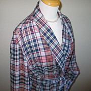 Vintage 1960s Madras Plaid House Coat Robe