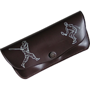 Vintage 1960s Sports Themed Novelty Eyeglass Holder Case