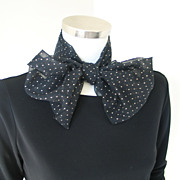 Vintage 1960s Sheer Black Rectangular Scarf with Flocked Polka Dots