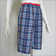 Vintage 1960s Navy Blue Red and Gold Madras Plaid Shorts