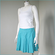 Vintage 1980s Turquoise Pleated Tennis Skirt by Le Coq Sportif