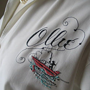 Vintage 1950s 1960s Novelty Blouse Fishing Theme Named Ollie 39B