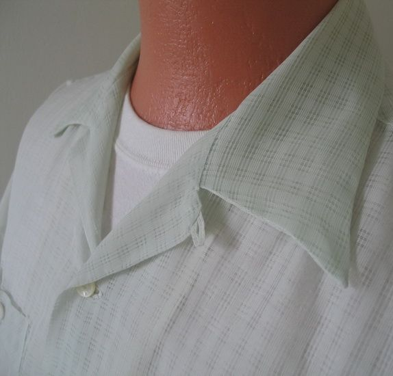 Vintage 1950s VLV Sheer Sea Green Nylon Menswear Loop Summer Shirt XL