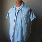 Pale Sky Blue Vintage Bowling Shirt Star Shooters Honolulu, Hawaii VLV
