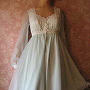 Vintage Nightgown Peignoir Set OLGA sheer blue chiffon XS bra top sleeping pretty Lacy